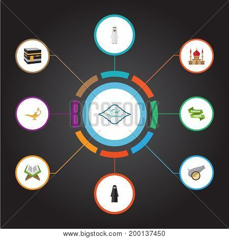 Flat Icons Holy Book, Minaret, Genie And Other Vector Elements