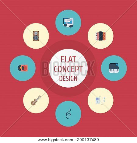 Flat Icons Acoustic, Harmonica, Tone Symbol And Other Vector Elements