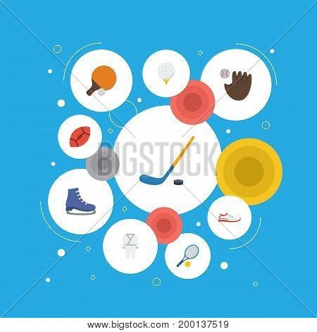 Flat Icons Ice Boot, Shoes, American Football And Other Vector Elements