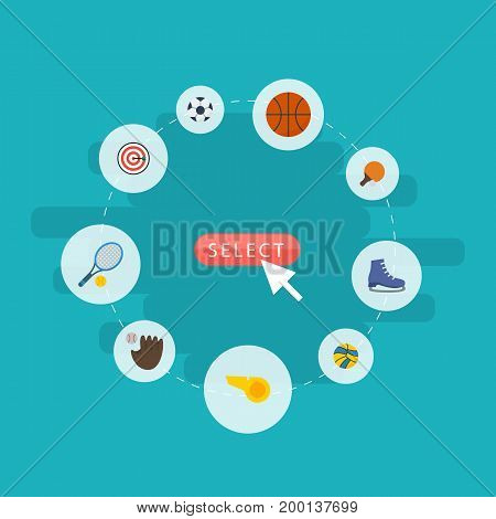 Flat Icons Basket, Table Tennis, Glove And Other Vector Elements