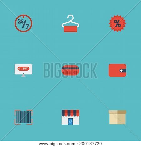 Flat Icons Qr, Purse, Support And Other Vector Elements