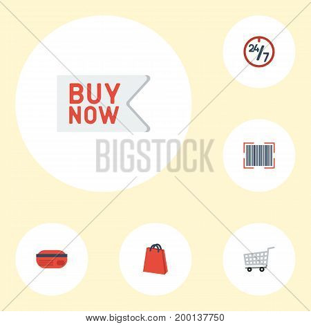 Flat Icons Trolley, Support, Buy Now And Other Vector Elements