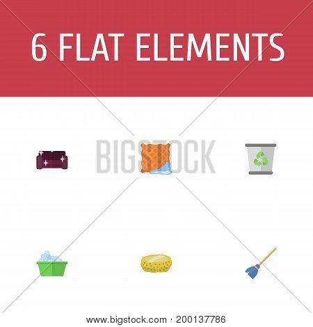 Flat Icons Garbage Container, Sofa, Washcloth And Other Vector Elements