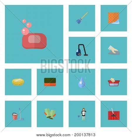 Flat Icons Foam, Sweeper, Sponge And Other Vector Elements