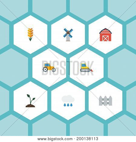 Flat Icons Grain, Cloud, Farm Vehicle And Other Vector Elements