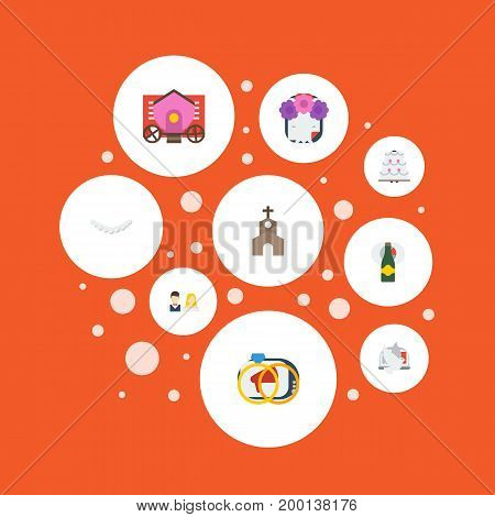 Flat Icons Couple, Jewelry, Pigeon And Other Vector Elements