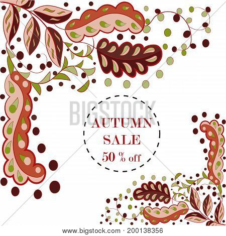 Abstract autumn composition from multi-colored leaves in vector illustration