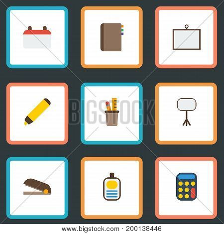 Flat Icons Calculate, Identification, Highlighter And Other Vector Elements