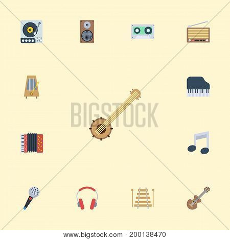 Flat Icons Earphone, Tape, Karaoke And Other Vector Elements