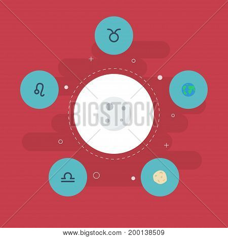 Flat Icons Comet, Lunar, Lion And Other Vector Elements