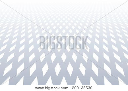 Diminishing perspective view. Diamonds pattern. Abstract textured background. Vector art.