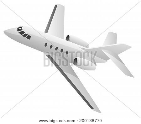 Small private corporate business jet aircraft vector illustration