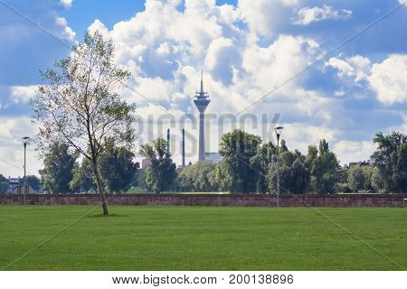 The Skyline of Duesseldorf seen from the Rhine Grasslands