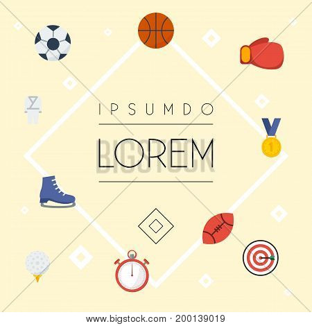 Flat Icons Basket, Second Meter, Boxing And Other Vector Elements