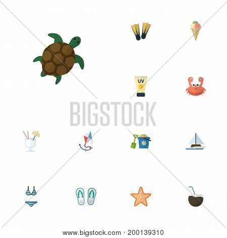 Flat Icons Slippers, Cancer, Sailboard And Other Vector Elements