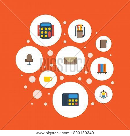 Flat Icons Bookshop, Armchair, Calculate And Other Vector Elements
