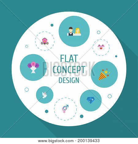 Flat Icons Couple, Posy, Brilliant And Other Vector Elements