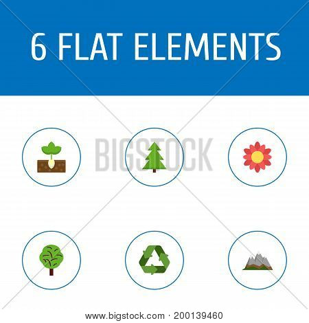 Set Of Eco Flat Icons Symbols Also Includes Conservation, Landscape, Sprout Objects.  Flat Icons Conservation, Sprout, Landscape Vector Elements.