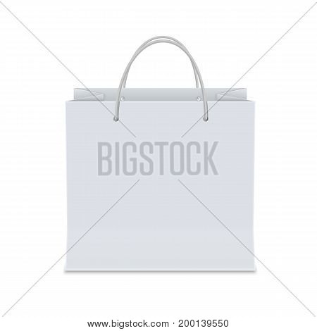 Empty white shopping paper bag. Isolated vector illustration realistic mock up on white background.