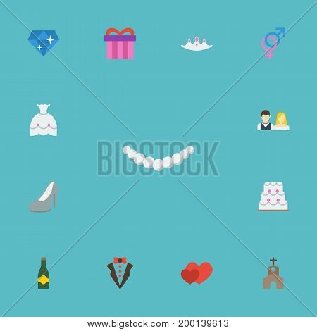 Flat Icons Accessories, Wedding Gown, Sexuality Symbol And Other Vector Elements