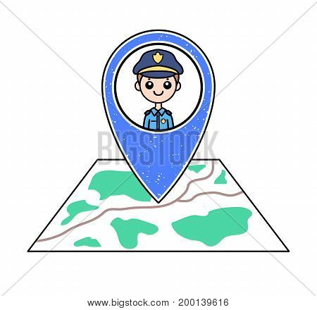 Textured blue geotag icon with policeman portrait pointing at a map. Friendly smiling male police officer. Police post/station/department location. GPS navigation concept. Professional security guard.