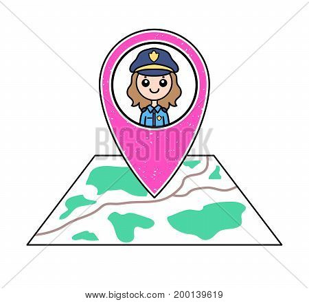 Textured pink geotag icon with policewoman portrait pointing at a map. Friendly female police officer. Police post/station/department location. GPS navigation concept. Professional security guard.