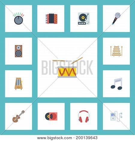 Flat Icons Musical Instrument, Earphone, Harmonica And Other Vector Elements