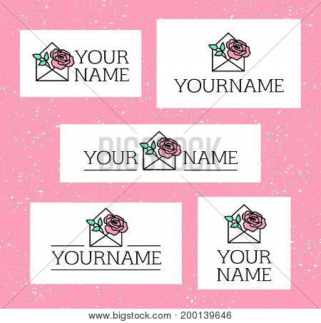 Elegant floral business logo set. Pink rose with leaves in white envelope collection of 5 logotype concepts. Romantic love letter with a flower inside. Event management gift delivery company emblem.