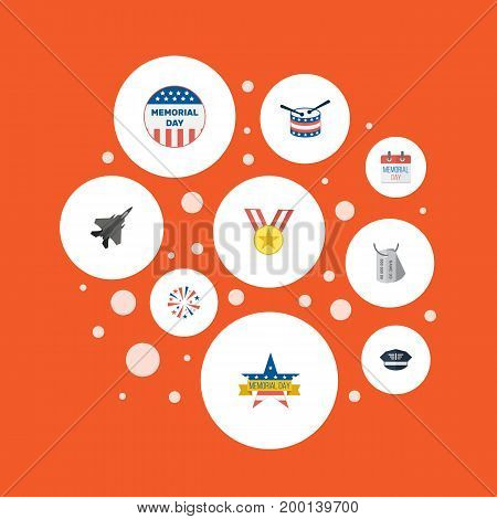 Flat Icons Medallion, Identity, Hat And Other Vector Elements