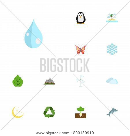 Flat Icons Electric Mill, Isle Beach, Sprout And Other Vector Elements