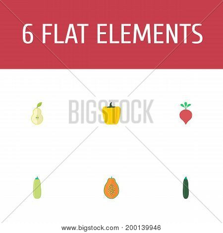 Flat Icons Bulgarian Bell, Pawpaw, Radish And Other Vector Elements