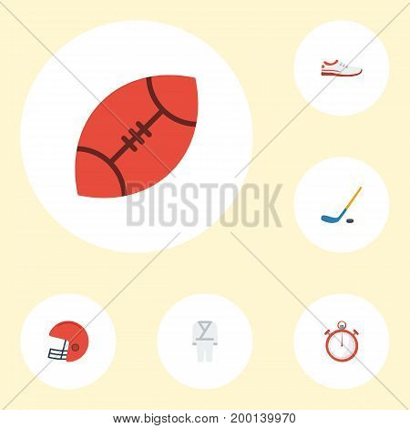 Flat Icons Uniform, Shoes, Puck And Other Vector Elements