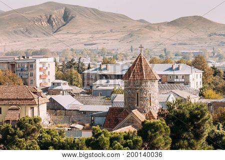 Gori, Shida Kartli Region, Georgia, Eurasia. Temple of the Holy Archangels Church In Sunny Autumn Day.
