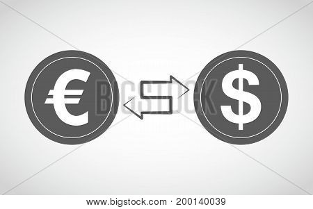 Icon of currency exchange in flat design. Vector illustration. Concept of the foreign exchange transactions between the dollar and the euro.