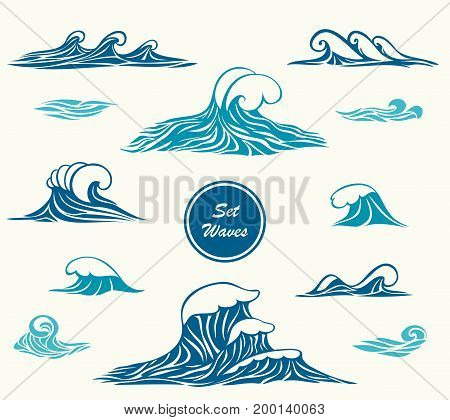 Set ocean or sea waves in marine blue colors for logotype or for making design by marine themes