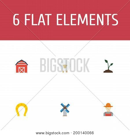 Flat Icons Sprout, Lamb, Grower And Other Vector Elements