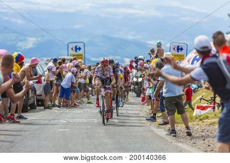 Col de Peyra Taillade France - July 162017: The Dutch cyclist Bauke Mollema of Trek-Segafredo Team in front of a group of cyclists climbing the last kilometer to Col de Peyra Taillade in the Central Massif during the stage 15 of Le Tour de France 2017. Mo