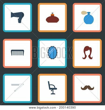 Flat Icons Female, Looking-Glass, Elbow Chair And Other Vector Elements