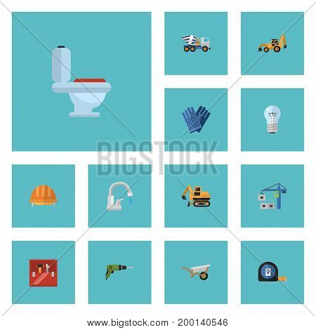 Flat Icons Excavator, Bulb, Hardhat And Other Vector Elements