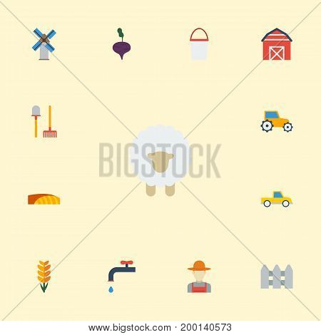 Flat Icons Storehouse, Grain, Grower And Other Vector Elements