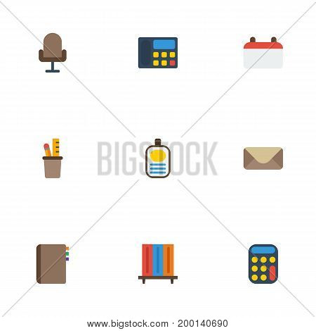 Flat Icons Calculate, Date, Bookshop And Other Vector Elements