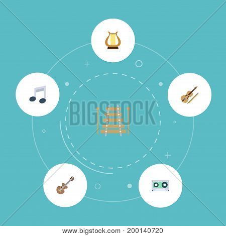 Flat Icons Musical Instrument, Fiddle, Tone Symbol And Other Vector Elements