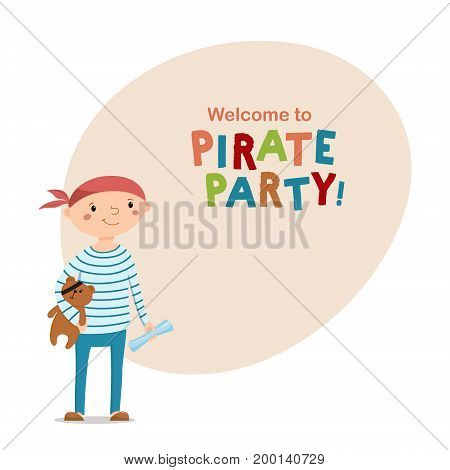 Little boy dressed as sailor holding teddy bear with pirate eye patch, space for text, cartoon vector illustration isolated on white background. Kid boy pirate in striped sailor shirt with teddy bear