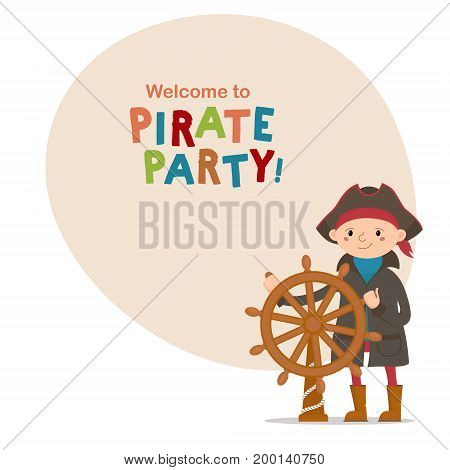 Little boy dressed as sailor, pirate captain holding steering wheel and space for text, cartoon vector illustration isolated on white background. Kid, boy pirate, sailor in captain hat with ship wheel