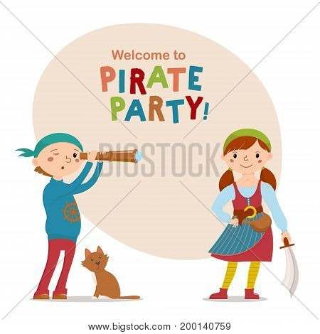 Little boy and girl dressed as, playing pirates with cat, spy glass, sword and space for text, cartoon vector illustration isolated on white background. Kids, boy and girl, dressed as pirates
