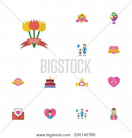 Happy Mother's Day Flat Icon Layout Design With Design, Envelope And Tulips Symbols