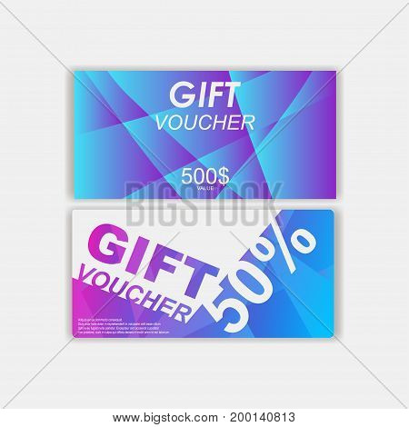 set of double vouchers bilateral . Gift voucher template. Gift voucher template with clean and modern pattern. Gift voucher template with colorful modern style