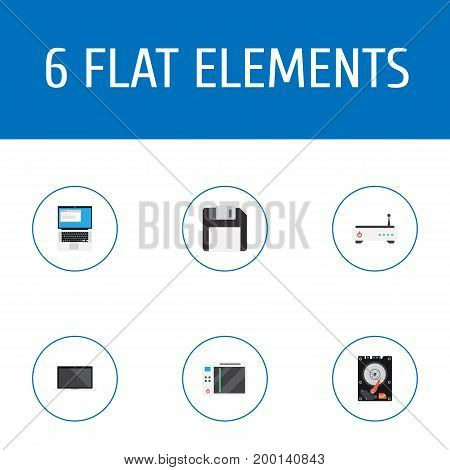 Flat Icons Laptop, Diskette, Slot Machine And Other Vector Elements