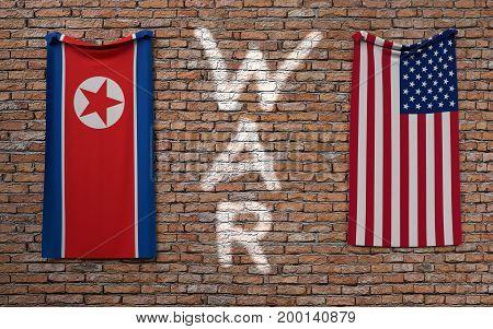 War concept between North Korea and USA. 3D rendering.