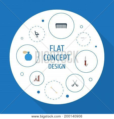 Flat Icons Hairstylist, Blade, Cotton Buds And Other Vector Elements